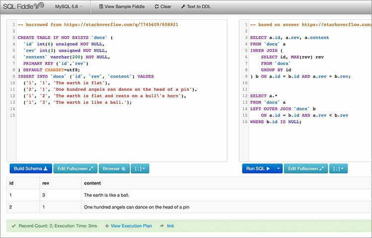 SQL Fiddle mã hóa MySQL và MSSQL IDE trực tuyến