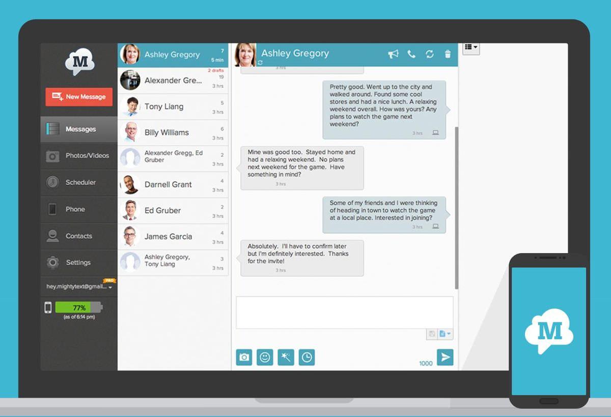 MightyText để chia sẻ các cuộc trò chuyện trên các thiết bị