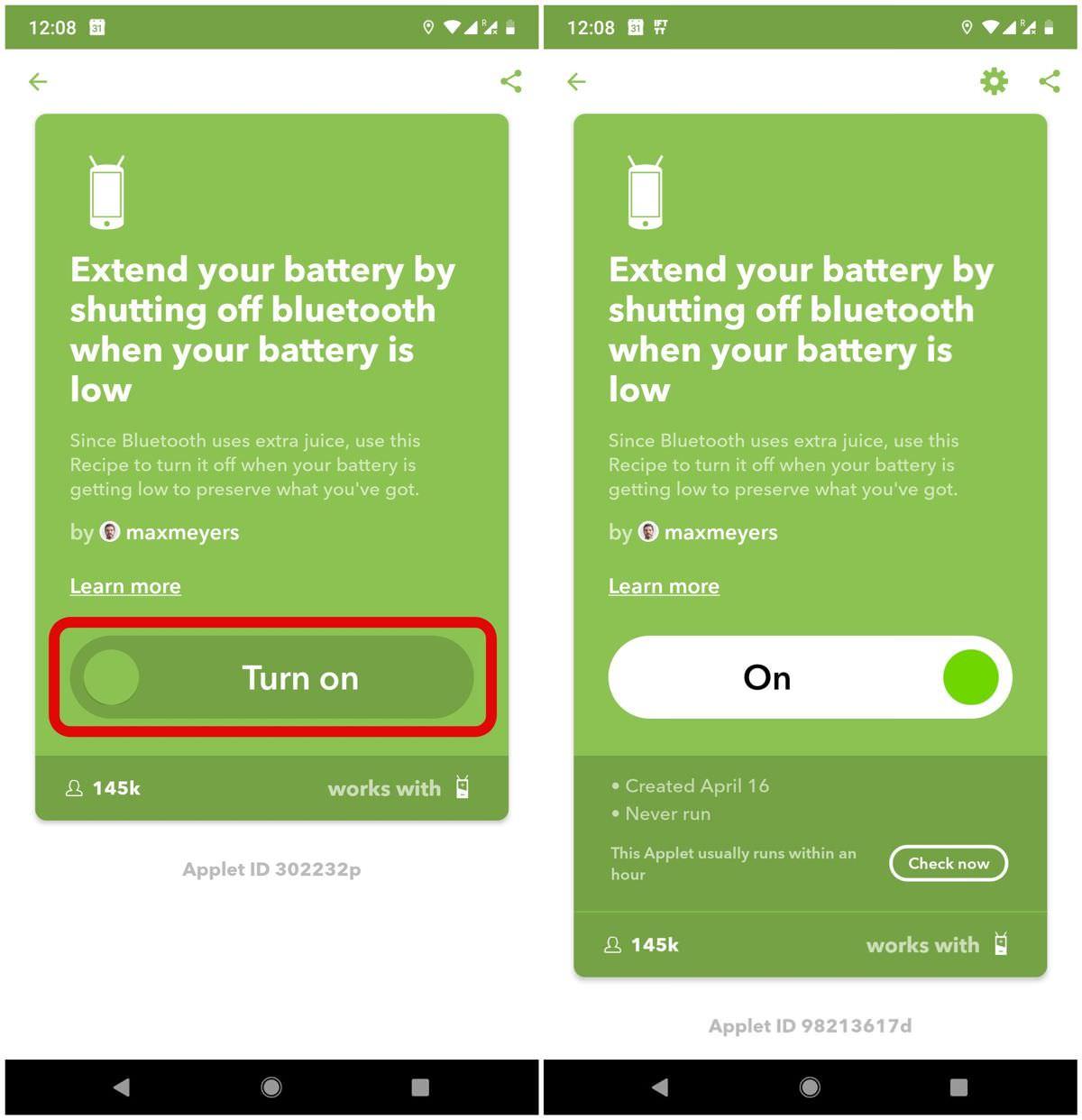 Bật một applet hoặc công thức trong IFTTT