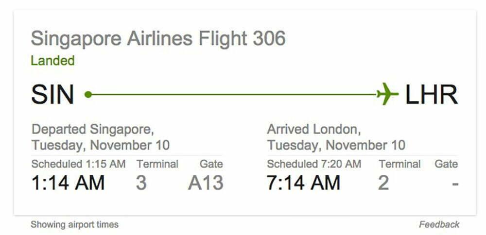 singapore đến london