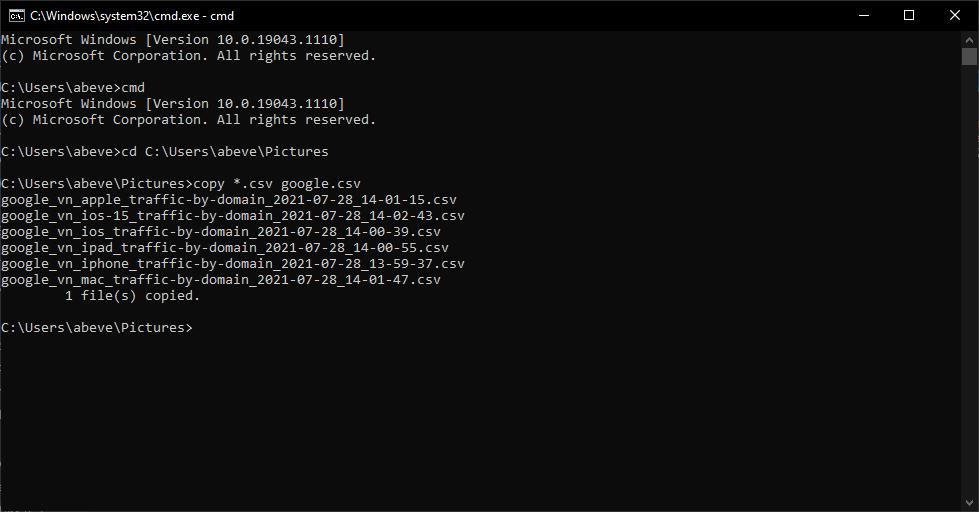 Cách nối nhanh nhiều tệp văn bản bằng CMD 2